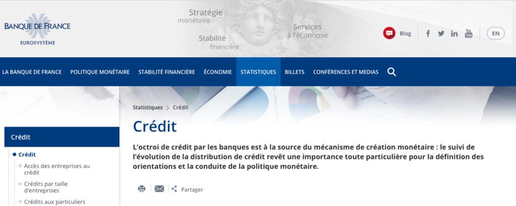 """Impression écran de la page """"Crédit"""" du site de la banque de France"""